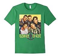 Take That Retro 90's Boyband Group Shot Shirts Forest Green