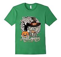 Happy Halloween Cute Cat In Witch Hat Pumpkin Spooky Novelty T Shirt Forest Green