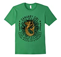January Girl The Soul Of A Mermaid Tshirt Funny Gifts T Shirt Forest Green