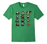 Friends Pixel Halloween Icons Scary Horror Movies Pullover Shirts Forest Green
