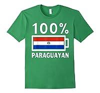 Paraguay Flag T Shirt 100 Paraguayan Battery Power Tee Forest Green
