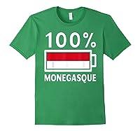 Monaco Flag T Shirt 100 Monegasque Battery Power Tee Forest Green