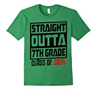 Straight Outta 7th Grade Class Of 2024 Graduation Shirts Forest Green