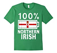 Northern Ireland Flag Shirt 100 Irish Battery Power Tee Forest Green