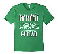 Patriot Guitarist T Shirt America Flag Guitar Forest Green