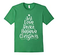 Christmas Shirts Joy Love Peace Believe Xmas Tree Gifts Forest Green