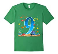 9 Year Old Ocean Birthday Under The Sea Fish 9th Gift Shirts Forest Green