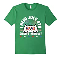 Cat July 4th Independence Day Meow Gift Shirts Forest Green