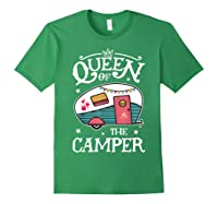 Queen Of The Camper Outdoor Camping Camper Girls Shirts Forest Green