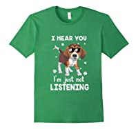 Hear You 'm Just Not Listening Funny Beagle Shirts Forest Green