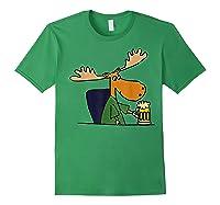 Smiletodaytees Funny Moose Drinking Mug Of Beer T-shirt Forest Green