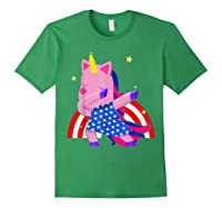 Dabbing Unicorn Merica 4th Of July For Shirts Forest Green