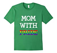 Mom With Pride Lgbt Rainbow Tank Top Shirts Forest Green