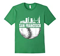 San Francisco Skyline City Baseball T Shirt Souvenir Skyline Forest Green