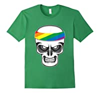 Funny Lbgt Gay Pride Rainbow Flag Skull Cool Art Gifts Shirts Forest Green