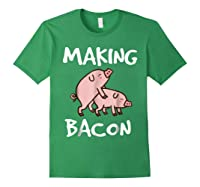Pigs Making Bacon | Funny Pork Breakfast Shirt | Forest Green