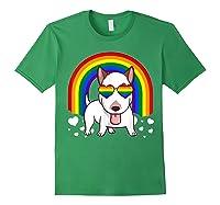 Bull Terrier Dog Gay Pride Rainbow Q Cute Gift Shirts Forest Green