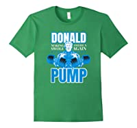 Donald Pump Swole America Trump Weight Lifting Shirts Forest Green