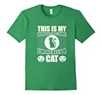 Halloween Cat Costume, This Is My Human Costume Retro Shirts Forest Green