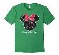 Disney Minnie Fire Works T Shirt Forest Green