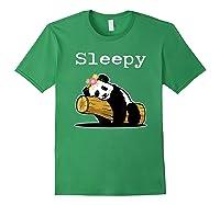 Sleepy Panda Shirt For Girls Cute Panda Flowers Lazy Relaxed Forest Green