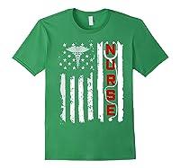 Patriotic American Usa Flag Correctional & Rn Nurse Tshirt Forest Green