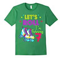 Let's Roll I'm Turning 7 Roller Skate 7 Birthday Shirts Forest Green