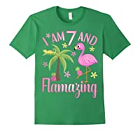 I Am 7 And Flamazing Shirt 7th Birthday Flamingo Lover Gift Forest Green