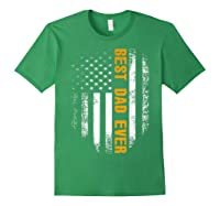Vintage Best Dad Ever Shirt American Flag Father's Day Gift Forest Green