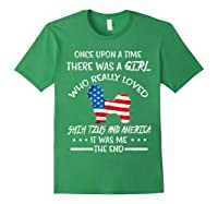 Once Upon A Time Shih Tzu America 4th Of July T Shirt Gift Forest Green