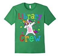 Library Crew Dabbing Unicorn 1st Day Of School Shirts Forest Green