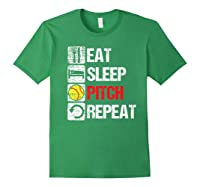 Eat Sleep Pitch Repeat Softball Player Pit Coach Premium T-shirt Forest Green