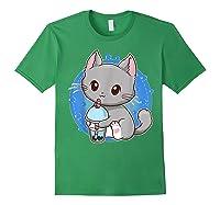 Kawaii Japanese Anime Cat Bubble Tea - Neko Kitty T-shirt Forest Green