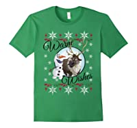 Frozen Olaf Sven Warm Wishes Ugly Sweater Shirts Forest Green