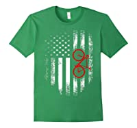 Vintage American Usa Flag Bicycle T-shirt Bicyclist Gift Forest Green