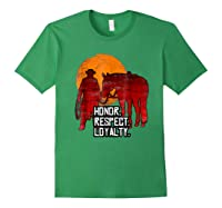 Red Horse Sunset T Shirt Honor Respect Loyalty Cowboy Forest Green