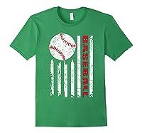 American Flag Baseball | July 4th Usa Flag Patriotic Design T-shirt Forest Green