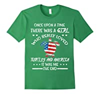 Once Upon A Time Turtle America 4th Of July T Shirt Gifts Forest Green