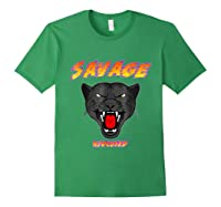 Savage T Shirt Wild Black Panther Focused Forest Green