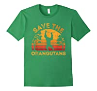 Save Orangutans Vintage Retro Color Distressed Gift Shirts Forest Green