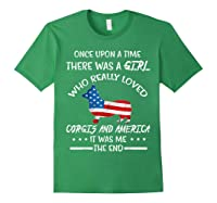 Once Upon A Time Corgi America 4th Of July T Shirt Gifts Forest Green