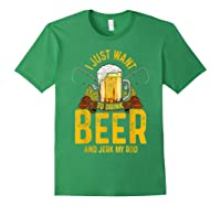 Funny Beer And Fishing Fathers Day Gift Adult Humor Shirts Forest Green