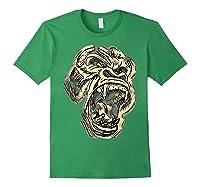 Angry Great Ape Art T-shirt Fierce Silverback Gorilla Face Forest Green