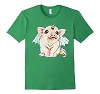 Cute Flying Unicorn Pig, Pigicorn Unipig Tshirt Forest Green