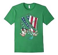 Vintage Bowling T Shirt American Usa Flag Bowling T-shirt Forest Green