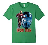 Avengers Endgame Iron Man Side Profile Graphic Shirts Forest Green