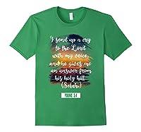 Christian Prayer Bible Verse Psalms 3 4 Quote T Shirt Forest Green
