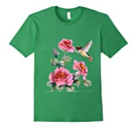 Hummingbird With Roses T For Shirts Forest Green