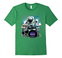 Nasa Space Drum Playing Astronaut Premium Graphic T-shirt Forest Green
