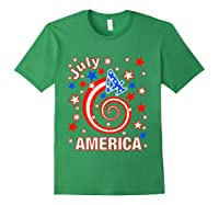 Festive 4th Of July, Independence Day Design Shirts Forest Green